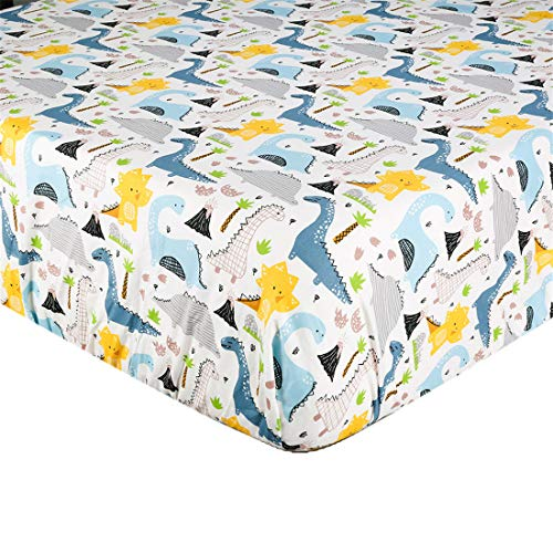 Crib Sheet UOMNY 100% Natural Cotton Crib Fitted Sheets Baby Sheet Set for Standard Crib and Toddler mattresses Nursery Bedding Sheet for Boys and Girls 1 Pack Brachiosaurus Dinosaur Pattern