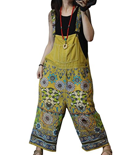 YESNO PBQ Women Casual Loose Overalls Floral Jumpsuits Ripped Button on Waist Low Crotch Pockets (M, Yellow)