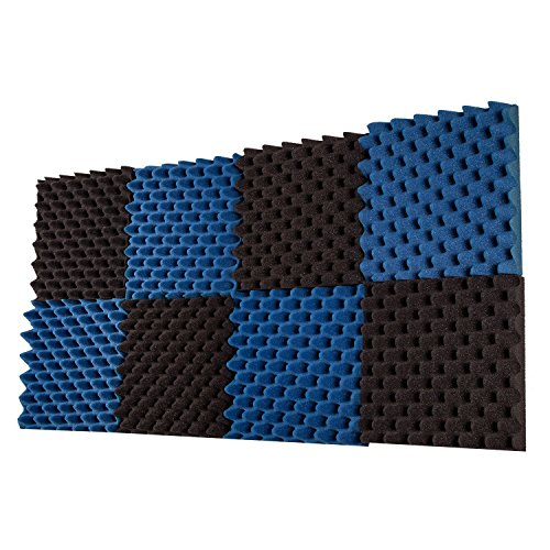8 Pack- Charcoal/Ice Blue Acoustic Panels Studio Foam Convoluted 2.5