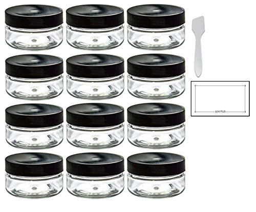 2 Ounce Clear Jar (Clear PET Plastic (BPA Free) Refillable Travel Jar - 2 oz (12 pack) + Spatulas and Labels)