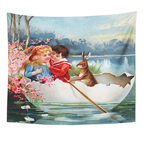 Semtomn Tapestry Artwork Wall Hanging Public Vintage Easter Domain Ephemera Victorian Retro Kitsch Shabby 60x80 Inches Home Decor Tapestries Mattress Tablecloth Curtain Print