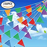 150Pcs Pennant Banner Flags,Simuer 262 Ft Triangle Flag Banner String Flags Multicolor for Birthdays Party,Festivals,Grand Opening,Christmas Decorations