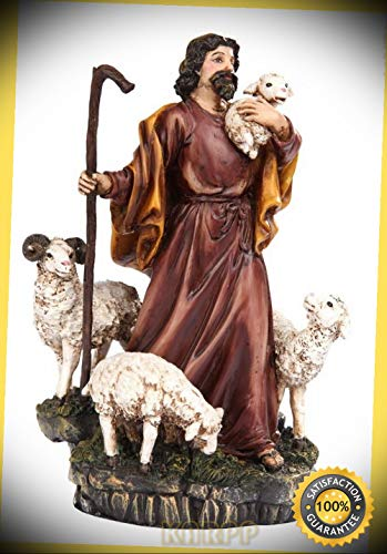 Parable of The Lost Sheep Sculpture in Vivid Colors GOD Loves Sinners Premium Decor Indoor Collectible ()