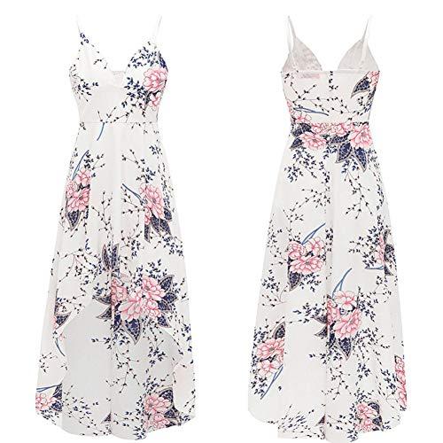 Kleid Tiefem XL Ärmelloses Backless Boho Chiffon Multicolorfloralwhite1 Wrap Frauen V Langes Ausschnitt Floral 5qnvww7ax