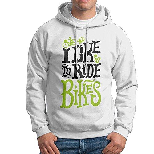 E~.~!S I Like To Ride Bikes Men's Fashion Casual Hoodie White M