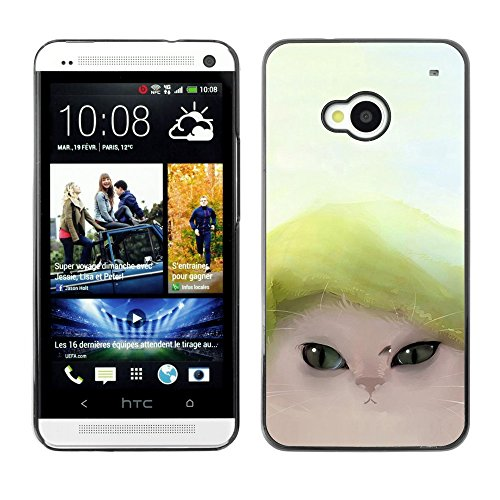 Soft Silicone Rubber Case Hard Cover Protective Accessory Compatible with HTC ONE M7 2013 - Cute Funny Cat