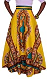 Pivaconis Womens Boho Chiffon Dashiki Africa Print Elastic Wasit Swing Long Skirts Yellow Large