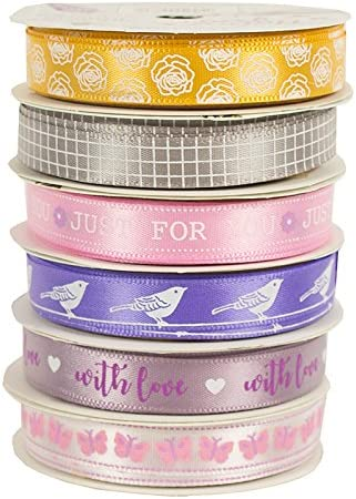 6 Satin Ribbon Spools Dovecraft Premium Nature/'s Grace Paper Craft Collection