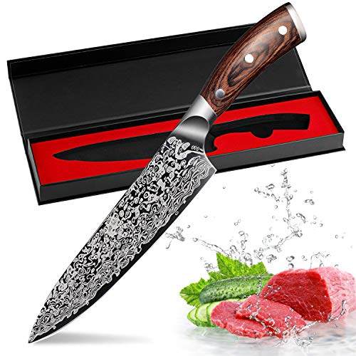Kitchen Knife 8 inch Professional Chef Knives Japanese 7CR17 440C High Carbon Stainless Steel Meat Santoku Knife Micarta Handle ()