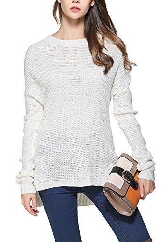 Sophieer Teen Girls Vogue Fall Winter Warm O Neck Base Sweater Undershirt White M