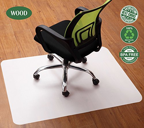 Non-Slip Office Chair Mat - Best Protector of Hardwood Floor and Under Computer Desk and Tables, Polyethene 47x35 Inch Rectangle Non-Toxic, No Odor and BPA Durable Plastic Floor Cover, Not for Carpets (Wood Table Hard)