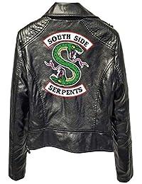 Eudolah Women's Jacket Riverdale South Side Snakes Motorcycle Jacket Faux Leather Slim Coat Long Sleeves