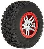 Traxxas 5975A BFGoodrich Mud-Terrain T A KM2 Tires Pre-Glued on SCT Chrome - Split-Spoke - Red Beadlock-Style Wheels