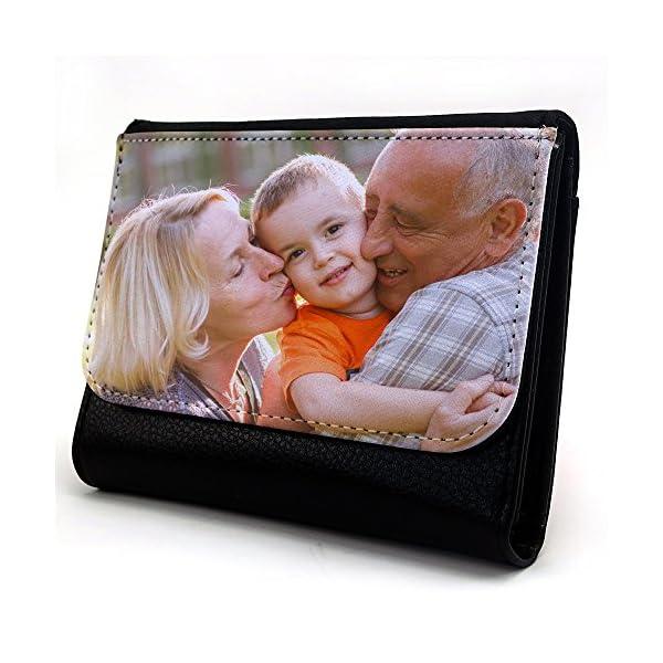 Lolapix - Cartera Mediana Personalizada con tu Foto, diseño o Texto, Original y Exclusivo. Simil Piel Color Negro 1