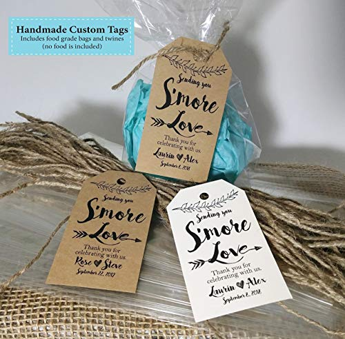 Smore Favor Tags, 25 Handmade Custom Paper tags 2x3.5 inches Smore Party Favors, Custom made BoHo Outdoor Style, Non returnable]()