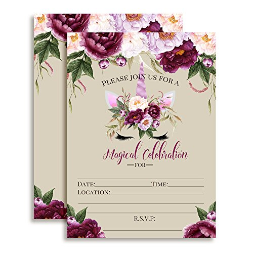 Violet Peony Unicorn Face with Purple Watercolor Flowers Birthday Party Invitations, 20 5