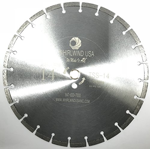 """Whirlwind USA TSS 14-Inch Laser Welded Dry or Wet Cutting General Purpose Standard Power Saw Segmented Diamond Blades for Cutting Concrete and Masonry (Factory Direct Sale) (14"""")"""