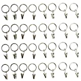 Metal Curtain Rings with Clips Silvery white Color - Clip Rings for Curtains - Great Curtain Rings for Your 1'' Curtain Rod Pack of 32 Pcs (Electroplate Silvery white)