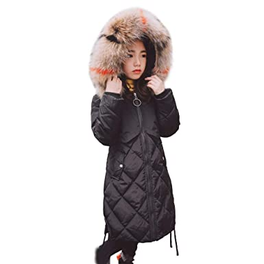 6648e0f9aa5d Amazon.com  Down Parkas with Fur Hood White Duck Down Jacket Winter ...
