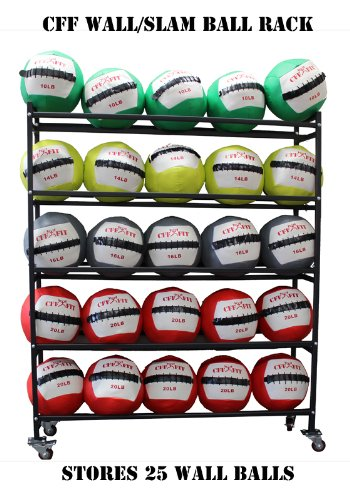 CFF 5 Tier Medicine Ball storade rack Holds up to 25 Wall/Slam balls 14'' gyms balls by CFF