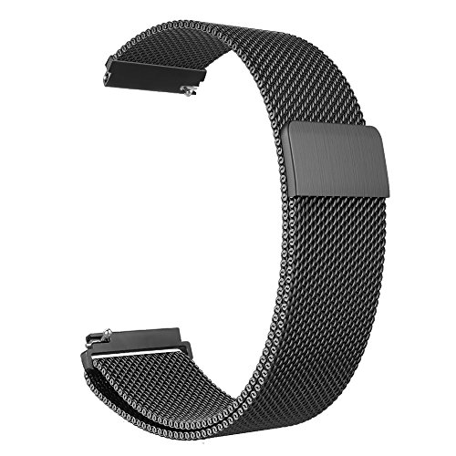Fintie Galaxy Watch 46mm / Gear S3 Frontier Classic Band [Large], 22mm Milanese Loop Stainless Steel Replacement Smartwatch Bracelet Wrist Strap with [Unique Magnet Lock] for Women Men, Black