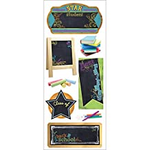 Paper House Productions STCH-0006E Erasable Chalkboard Stickers, School, 3-Pack