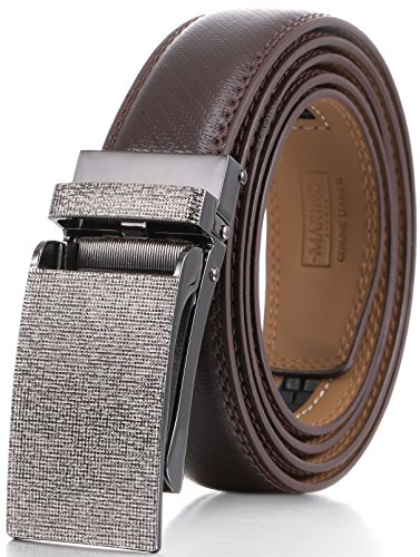 Marino Avenue Men's Genuine Leather Ratchet Dress Belt with Linxx Buckle - Gift Box (Brown - Style 136, Adjustable from 38