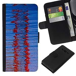 EJOY---La carpeta del tirón la caja de cuero de alta calidad de la PU Caso protector / Samsung Galaxy A3 / --Cristal Red Winter Refracción Modelo azul