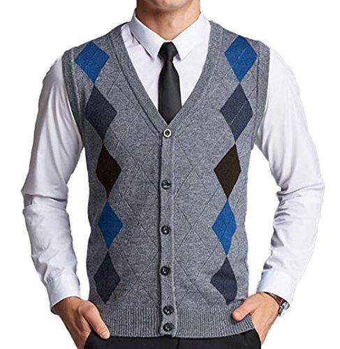[DD.UP Men's V-Neck Argyle Pattern Button Down Sweater Vest Cardigan] (Argyle V-neck Vest)