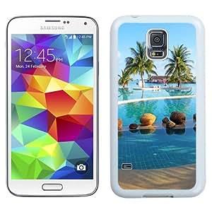 NEW Unique Custom Designed Samsung Galaxy S5 I9600 G900a G900v G900p G900t G900w Phone Case With Holiday Inn Maldives Resort Pool Palm Trees_White Phone Case