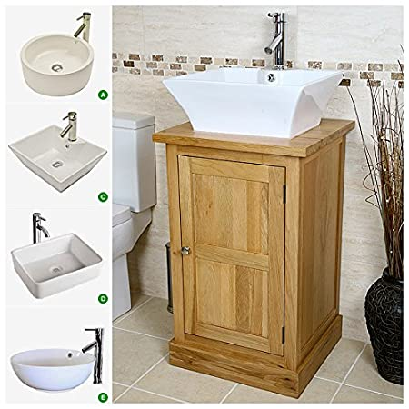 Free Standing Solid Oak Vanity Unit 500mm With Basin A