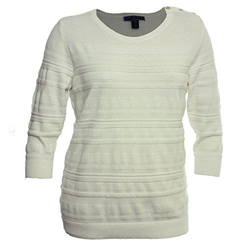 Karen Scott Womens Plus Solid Ribbed Sweater White 3X