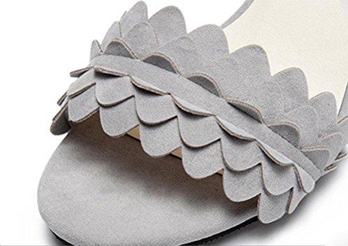 plana de forma sencilla y cómoda con sandalias planas en bruto con la palabra cingulado mujeres de las sandalias de tacón alto Grey