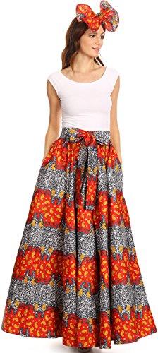 Sakkas 16317 - Asma Convertible Traditional Wax Print Adjustable Strap Maxi Skirt | Dress - 1127-RedYellow - (Beautiful Skirt)