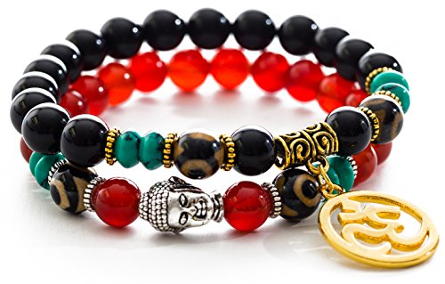 Gems of Peace - Red & Black Agate Stone Dzi Beads Yoga Meditation Buddha OM Bracelets