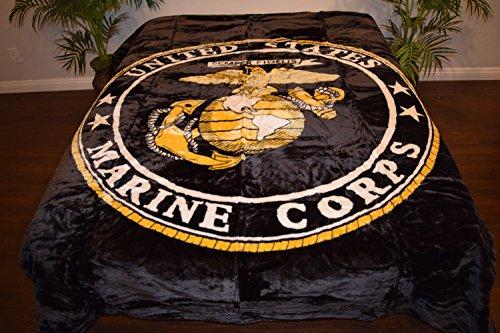 Black United States Marines Corp Logo Luxury Super Soft Medium Weight QUEEN size Mink Blanket 1ply