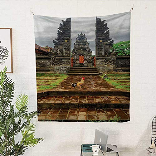 Garnet Asian Rug - sunsunshine Balinese Pattern Tapestry Traditional-Balinese-Architecture-Gate-Temple-Tourist-Attractions-Asian-Monument Big Tapestry 54W x 84L INCHBrown-Green