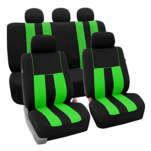 Buick Gs Green Car - FH Group FH-FB036115 Striking Striped Seat Covers Green/Black Color- Fit Most Car, Truck, SUV, or Van