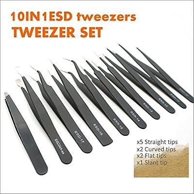 Jewelry,Soldering,Electronics Etc Precision Craft Tweezers Set,3 Pcs Pointed Tweezers,2 Pcs Curved Tweezers,2 Pcs Precision Serrated Tweezers for Eyelash Extensions,Craft