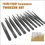 TECKMAN Precision Tweezer Set,10 Pack Best ESD