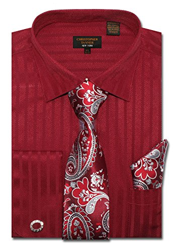 (Christopher Tanner Men's Regular Fit Dress Shirts with Tie Handkerchief Cufflinks Combo Herringbone Stripe Pattern Wine)