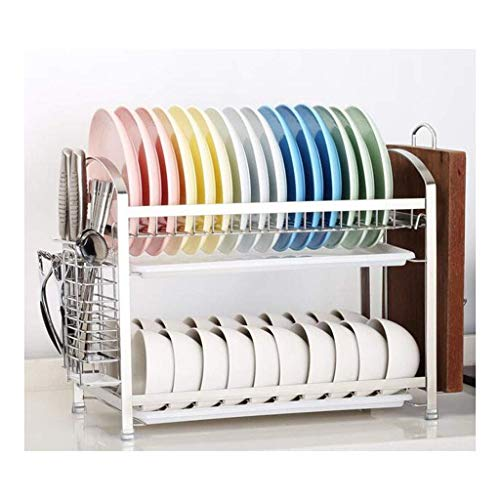 ZHONGwdj Dish Drying Rack, 2-Tier Dish Rack with Utensil Holder, Cutting Board Holder and Dish Drainer for Kitchen Counter, ()