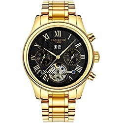 Topwatch® Sangdo Men's Tourbillon Automatic Mechanical Black Dial Gold Stainless Steel Watch