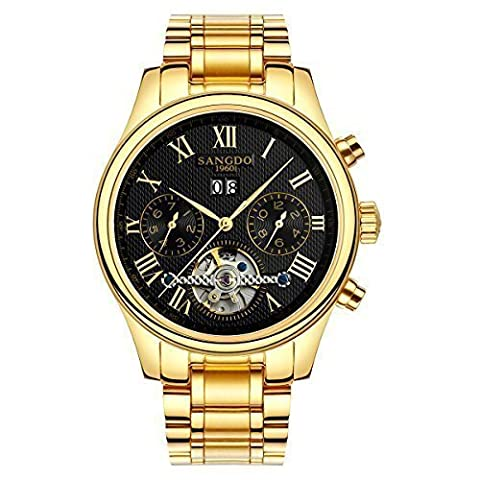 Topwatch® Sangdo Men's Tourbillon Automatic Mechanical Black Dial Gold Stainless Steel Watch (Sangdo Automatic Watches)