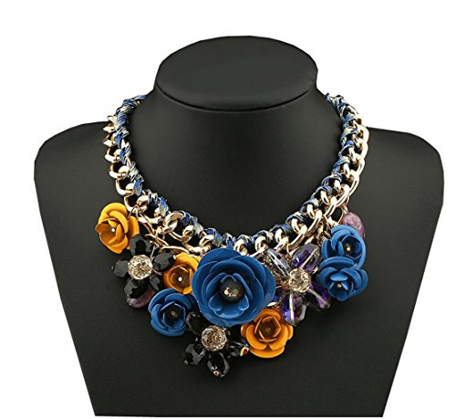Women Gold Chain Crystal Flowers Charm Pendant Big Chunky Big Statement Necklace for Clothing