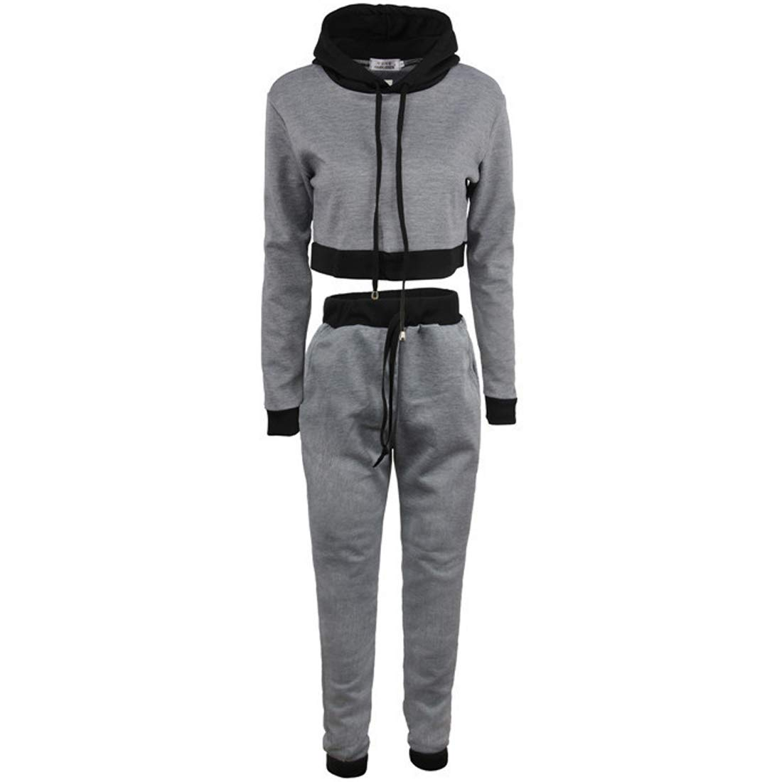 Fulision Women Drawstring Pullover Stitching Color Sportswear Two Piece Hoodie Fulision Co. Ltd