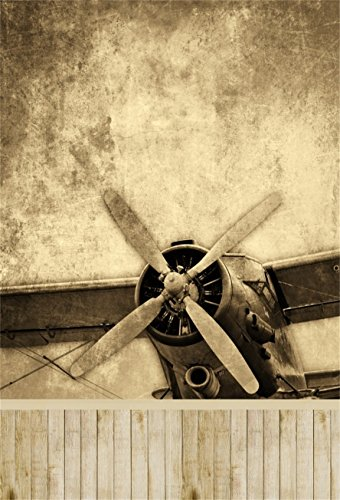 AOFOTO 3x5ft Vintage Aircraft Photography Backdrop Retro Biplane Aeroplane Background Nostalgic Photo Studio Props Kid Child Baby Boy Veteran Artistic Portrait Independence Day Vinyl Wallpaper