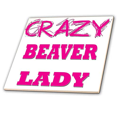 - 3dRose Blonde Designs Crazy Thumb Pointing Back Lady - Crazy Beaver Lady - 4 Inch Ceramic Tile (ct_174940_1)