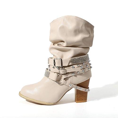 4aecef4b Botas Mujer Tacon Alto Cuero Botines Invierno Pelaje Tobillo Hebilla Zapatos  de Trabajo Señoras Altos Talones 7CM Fiesta Negras Marrón Beige 35-43: ...