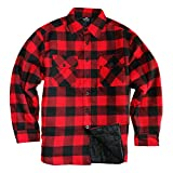 quilted plaid jacket - YAGO Men's Quilted Lined Long Sleeve Flannel Plaid Button Down Shirt YG2611 (Red/Black, 2X-Large)